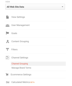 Google Analytics Channel Grouping